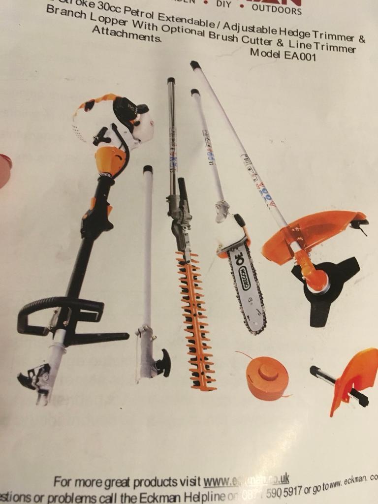 Eckman petrol extendable/adjustable lopper, hedge trimmer & strimmer. Model EA001