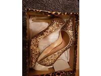 Ladies Glittery Gold Stiletto Shoes - River Island Size 5 - Worn Once