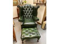 Fabulous Oxford Green chesterfield deep button wingback Queen Anne armchair with matching footstool