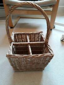Wicker basket with a handle