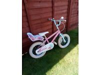 Child's Pink and White Bike with Stabilisers