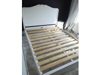 King size French style double bed with headboard in white