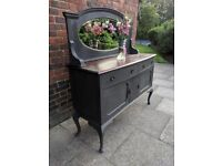 Antique sideboard buffet chiffonier with mirror. Rustic/shabby chic Charcoal/walnut. LOCAL DELIVERY.