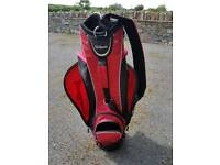 Red golf bag with black trim