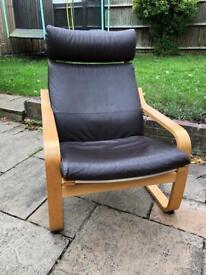 Ikea chair dark brown leather (x2)