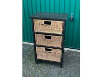3 Drawer Wooden Shelving Unit with Rattan Drawers from Pottery Barn