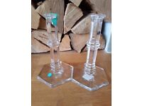 Tiffany & Co. WINDHAM Crystal Candlestick holders x2 - Brand new