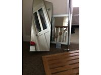 Bathroom cabinet, mirror, foot stand, curtain rail