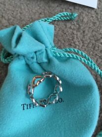 Tiffany love heart ring Gold & Silver size 7 ( n1/2) vgc with box & blank card