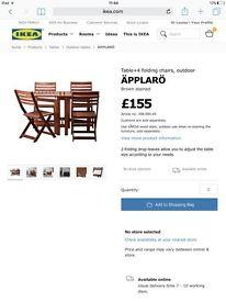 Ikea wooden alparo four seat patio set brand new still boxed