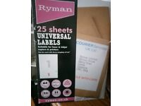 25 x A4 sheets of Ryman Universal labels,