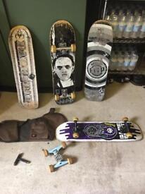 Various skateboards