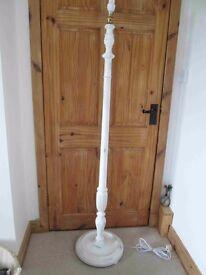 white shabby chic wooden standard lamp