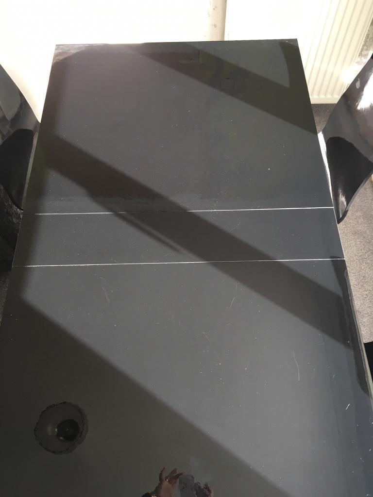 Next Black High Gloss Folding Dining Table Chairs in Clydebank