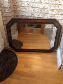 Edwardian oak Beveled mirror