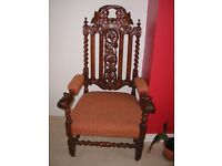 Genuine Victorian Restoration style carver chair or throne