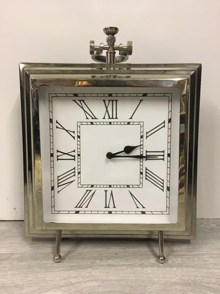 Silver Freestanding Glam Clock
