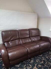 Good condition brown leather sofa