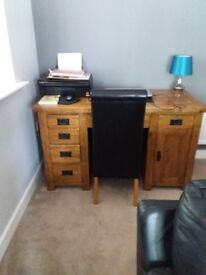 Oak Furniture land desk and black leather chair