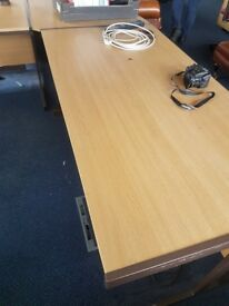 Wood effect straight office desks 1560mm or a large 176omm