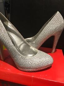 Ladies Shoes Silver Lucky Mesh Diamante