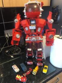 80s matchbox car robot with cars
