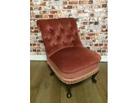 Small charming antique chair, lovely condition, velvet fabric, bedroom or living room
