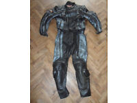 Two piece Armored Motorcycle Leathers. Jacket 50ins. Trousers 48ins. Suit tall man - Pokesdown BH5