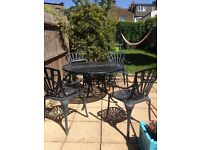 £75- Homebase garden metal table and chairs - black