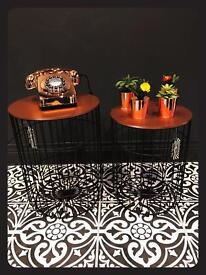 Set Of 2 Brand New Copper & Black Metal Tables