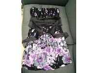 West One strapless thigh length dress, under bust belt fastening, black with floral detail size 12