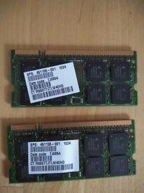 Laptop Memory 1GBx2 DDR2-667, PC2-5300, SODIMM Memory RAM Stick 451155-001.