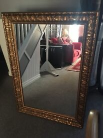 Gold frame oblong mirror from smoke free home
