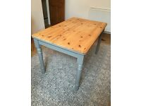 Shabby Chic Pine Dining Table with grey painted legs