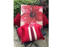 Large canvas print (Ikea), 4 red cushions, 1 red throw.