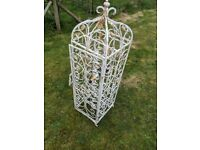 Wrought iron wine rack lockable for 27 bottles 14in wide x 15in depth x 51 in high