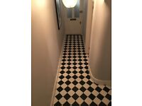 Black & white chequered encaustic floor / wall tiles