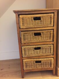 oak unit with basket drawers