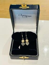 Pretty Vintage Silver Pearl & Heart Art Deco Retro Earrings Ladies Jewellery Gift
