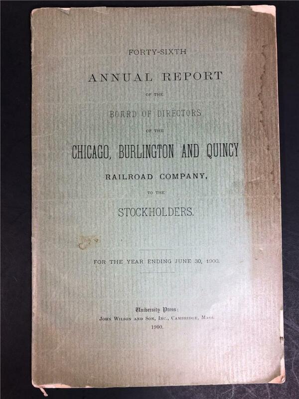 Antique Annual Report 1899-1900 Chicago Burlington And Quincy Railroad Company
