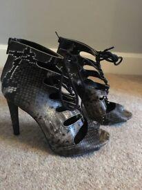 Primark lace up snake skin heels