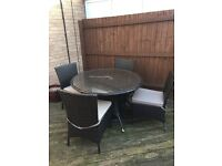 Rattan Garden Furniture 4 Piece Set with Parasol and Stand