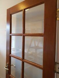 Hardwood glass panel door interior