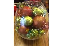 Glass bowl with baubles and lights