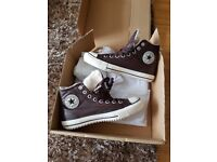 Converse All Star Hi Tops Shearling - Brown leather - NEW with labels - size 8 - £25