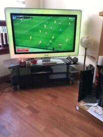 Smoked Glass Three Shelf and Chrome Legs TV Stand