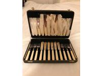 Antique silver and ivory cutlery set