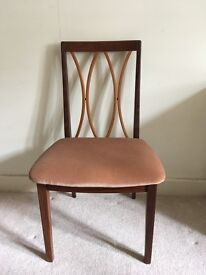 Chairs, brown wood with rose velvet seats x 8