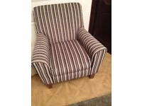 Next armchair in striped fabric,very good condition