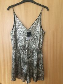 Top Shop Gold and Black Short Playsuit - LABELS ON/UNUSED SIZE 10